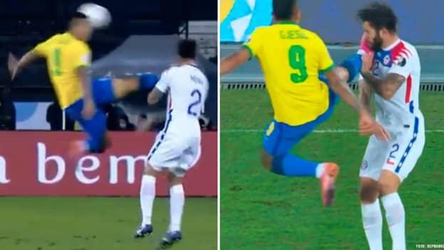 Brazil Striker Gabriel Jesus Sent Off For Wild Karate Kick In Copa America Win Over Chile