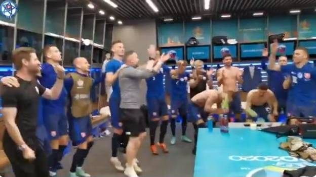 Slovakia Players Enjoy Boot-Banging Celebration After Victory Over Poland