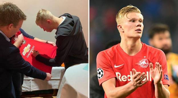 Erling Haaland Pictured Signing A Manchester United Shirt Amid Transfer Rumours