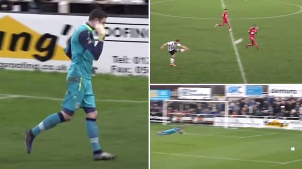 Hemel Hempstead Goalkeeper Sarcastically Dives After Terrible Effort From The Halfway Line