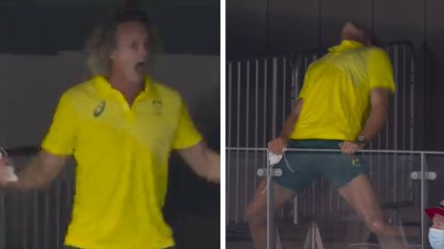 Ariarne Titmus' Coach Goes Viral For Complete Meltdown During Gold Medal Celebrations