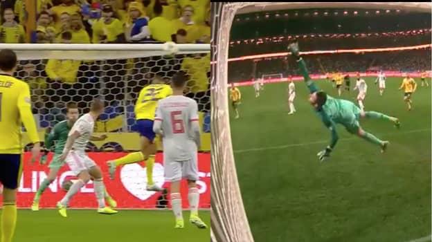 Spain Goalkeeper David De Gea Makes An Extraordinary Diving Save Against Sweden