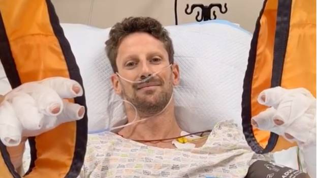F1 Driver Romain Grosjean Gives Health Update From Hospital After Terrifying Crash