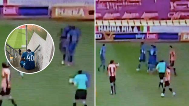 Grimsby Town Player Sent Off For Headbutting His Own Teammate