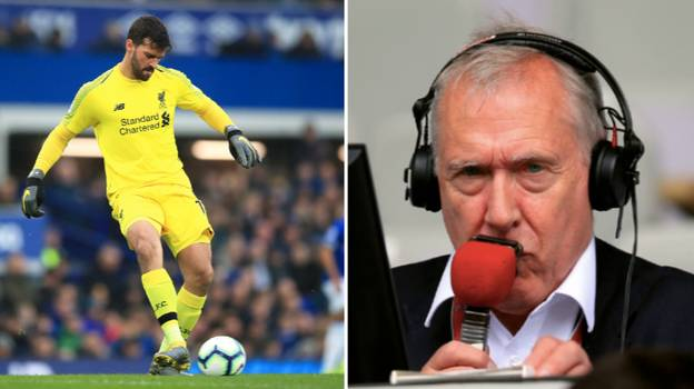 """Martin Tyler Drops """"Are Liverpool Going To Slip?"""" Line When Alisson Falls Over"""