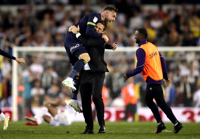 Lampard celebrates getting to Wembley. Image: PA Images