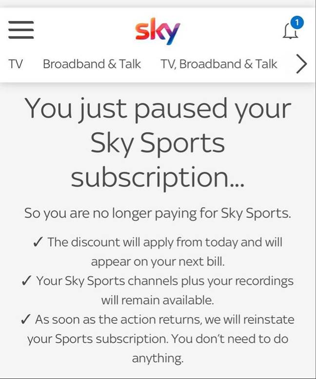 And here's what you see when you pause your subscription. Credit: Sky