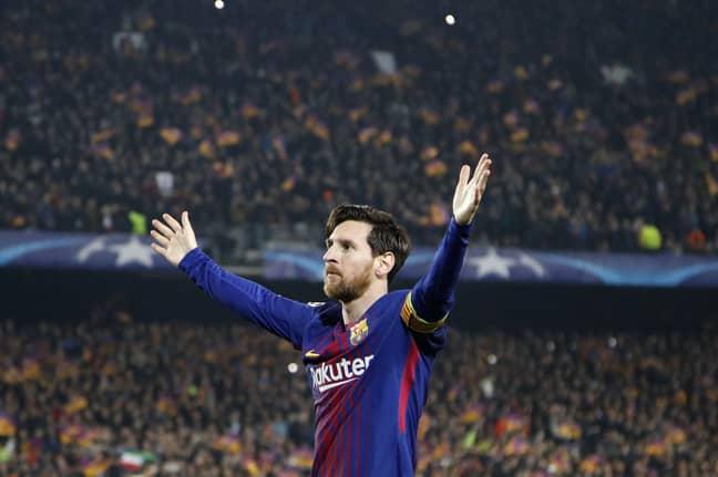 Messi celebrates scoring. Image: PA