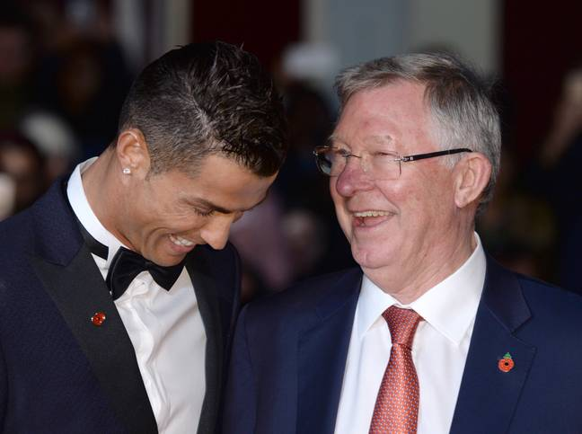 Ronaldo and Fergie laugh about Ronaldo's need to defend. Image: PA Images