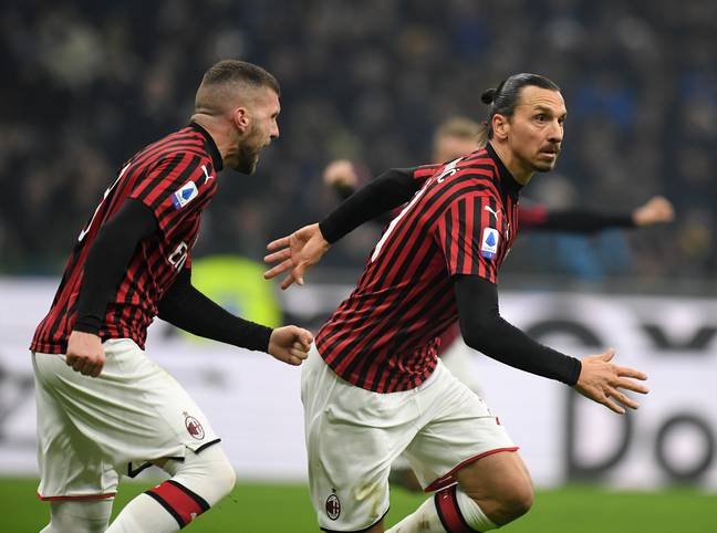 Ibrahimovic celebrates scoring in the derby against Inter. Image: PA Images