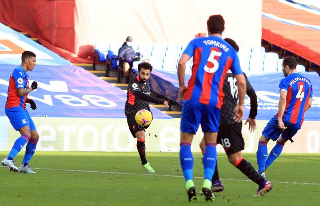 Salah scores Liverpool's seventh against Crystal Palace. Image: PA Images