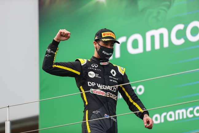 Daniel Ricciardo celebrates his podium in Germany. Credit: PA