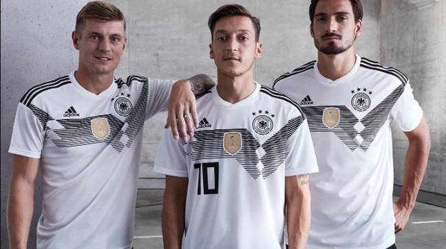 The lines across the chest on Germany's kit is a throwback to the 1990 kit. Image: Adidas.