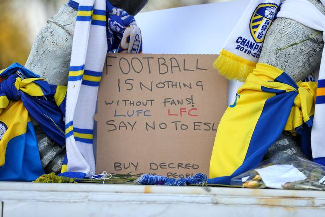 Fans protested outside Elland Road ahead of the game. Image: PA Images