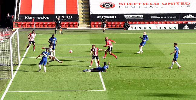 Chelsea concede their third against Sheffield United. Image: PA Images