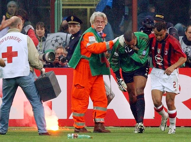 Dida after being hit by a firework. Image: PA Images