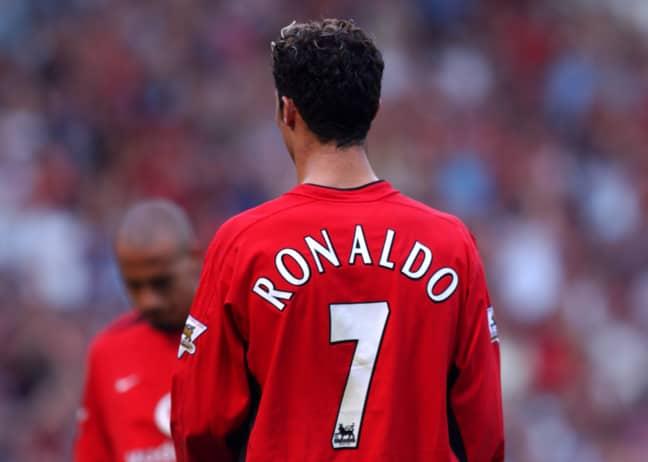 Ronaldo during his United debut. Image: PA