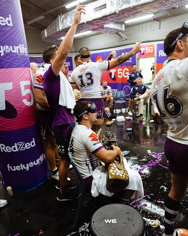 Smith was feeding the Provan-Summons Trophy beer all night. Credit: Instagram/@storm