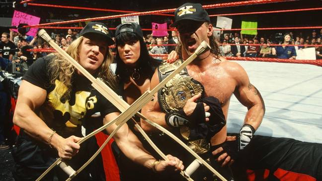 Chyna with stablemates HHH and HBK. Image: WWE