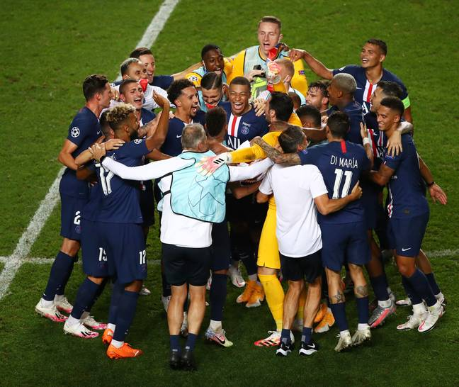 PSG celebrate reaching their first Champions League final. Image: PA Images