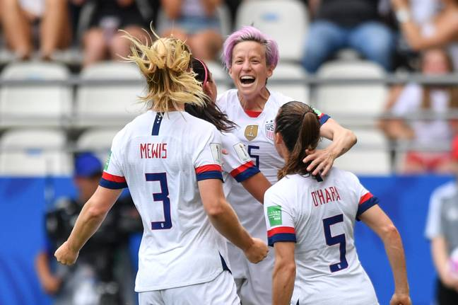 Rapinoe celebrates her second penalty of the match. Image: PA Images