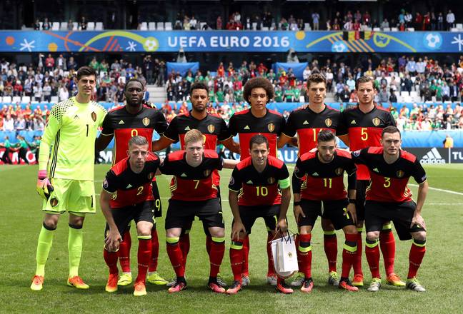 Belgium line up in the European Championships. Image: PA
