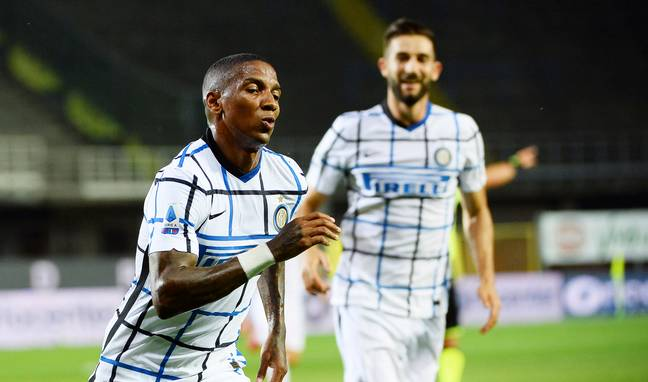 Ashley Young celebrates scoring Inter's second goal of the game. (Image Credit: PA)