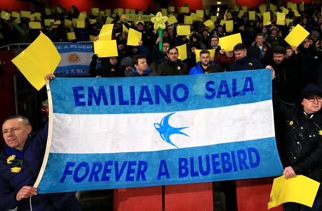 Cardiff fans at Nantes play tribute to Sala. Image: PA Images