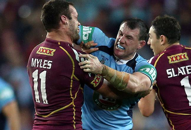 Paul Gallen's infamous punch-up with Nate Myles. Credit: NRL/NSWRL