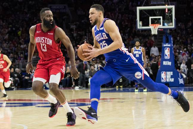 James Harden and Ben Simmons. Credit: PA
