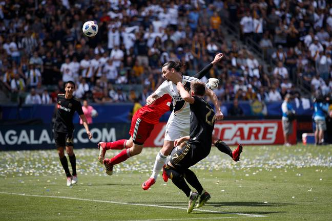 Ibra heads home the winner. Image: PA Images