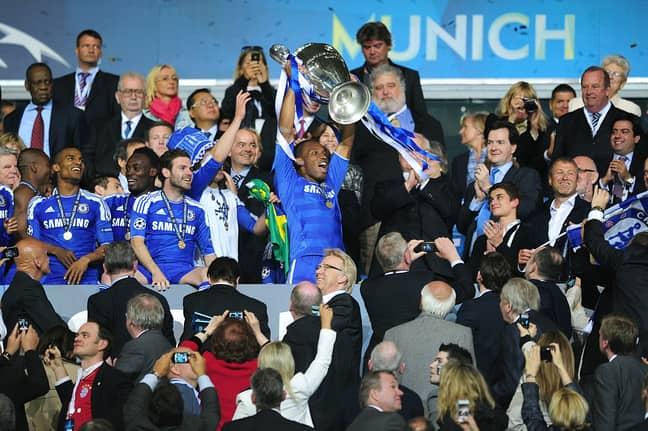 Drogba holds aloft the Champions League trophy. Image: PA