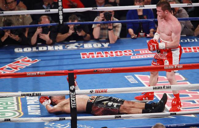 Khan floored by Canelo. Image: PA Images