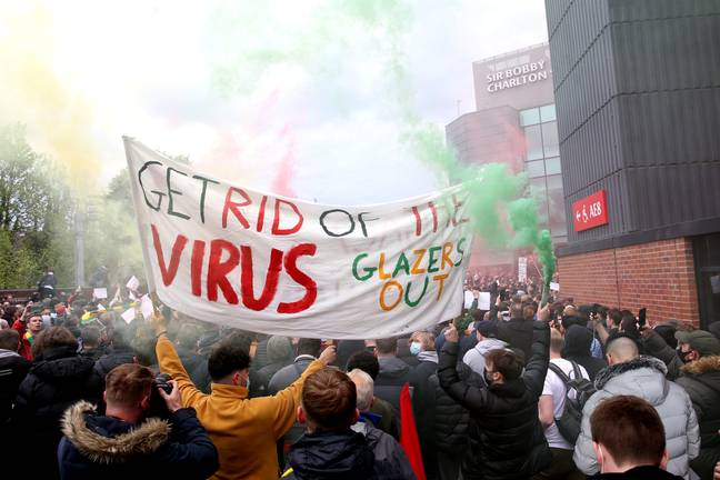 Manchester United fans held protests outside of Old Trafford following their involvement in the Super League. Image: PA Images