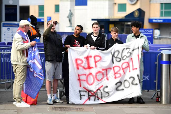 Fans protested against the Super League outside of Stamford Bridge. Image: PA Images