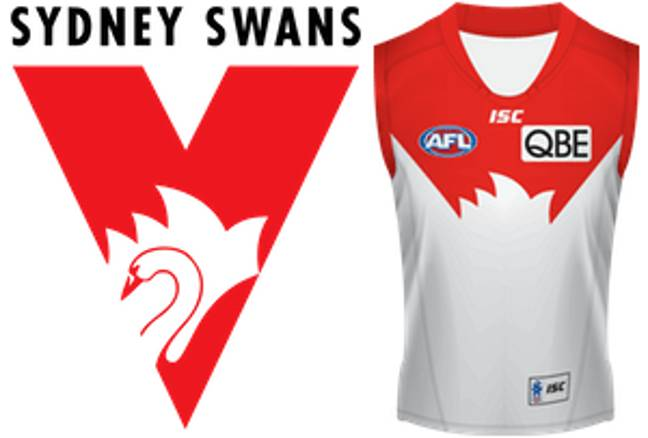 The Sydney Swans' iconic jersey and logo. Credit: Sydney Swans