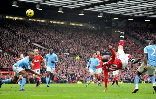 Rooney scores his famous goal against City. Image: PA Images