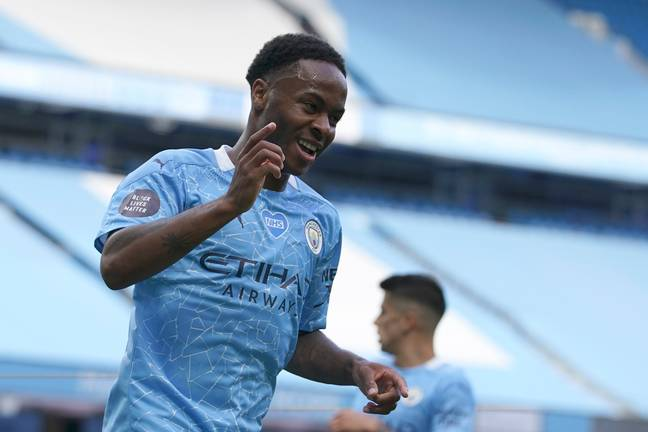 Sterling celebrates scoring against Norwich on the last day of the season. Image: PA Images