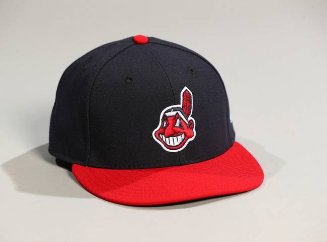 The Chief Wahoo logo on an Indians baseball cap. Credit: PA
