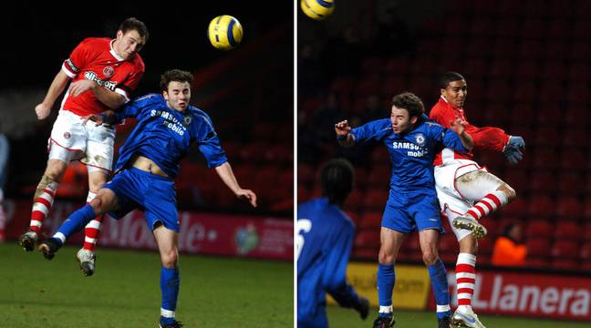Simmonds in two very unflattering pictures playing for Chelsea Reserves vs Charlton Athletic in 2006. Images: PA Images