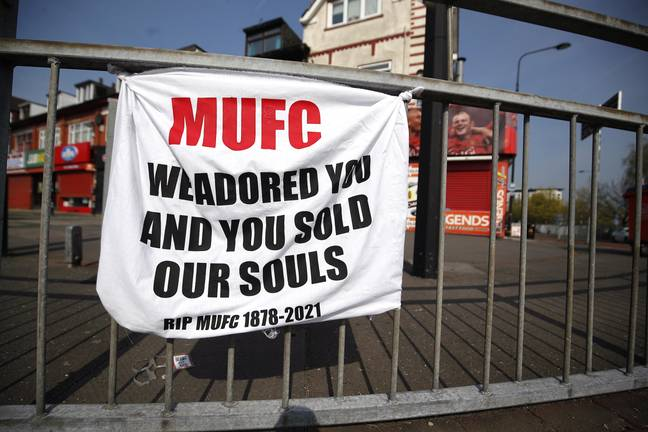 One of the banners near Old Trafford. Image: PA Images
