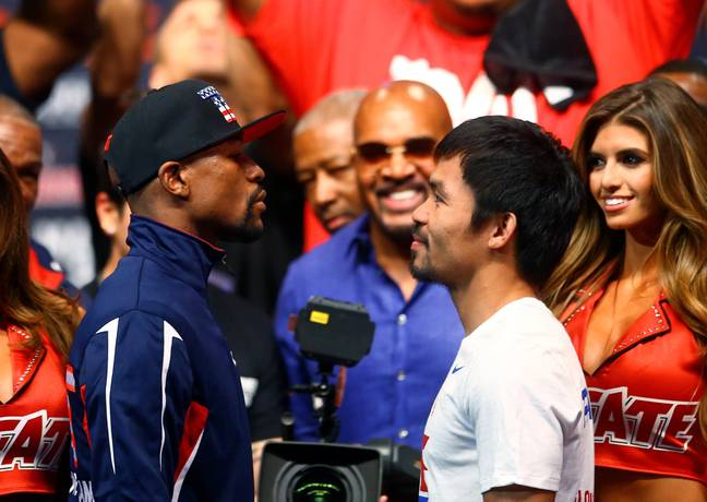 Pacquiao and Mayweather face off in 2015. Credit: PA