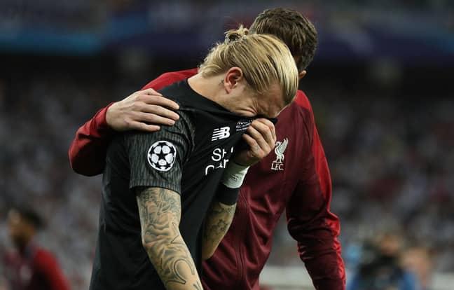 Karius breaks down in tears. Image: PA