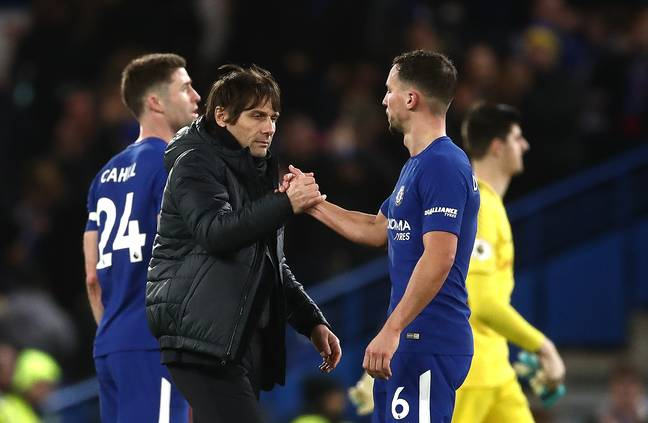Conte embraces with Drinkwater. Image: PA