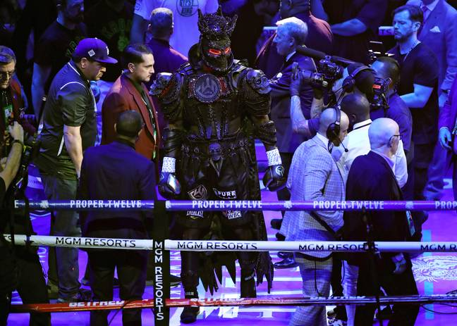 Wilder's full ring gear. Image: PA Images