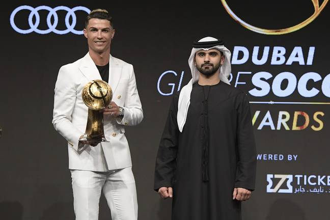 Ronaldo with his 'Player of the Year' award at last year's ceremony. Image: PA Images