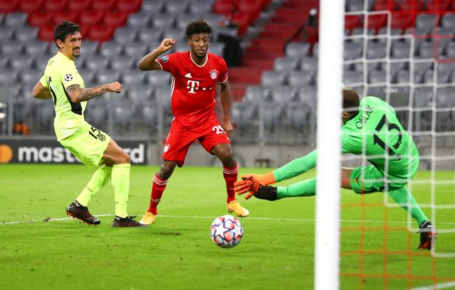 Coman scores his side's fourth of the night. Image: PA Images