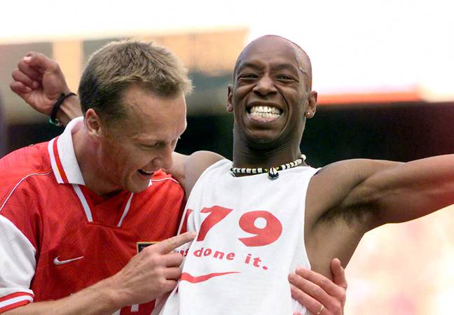 Wright celebrates become Arsenal's then top scorer of all time. Image: PA Images