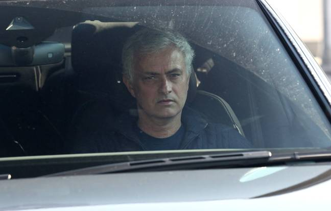 Mourinho driving away from the training ground, no doubt tired after 4 hours having a go at his former players. Image: PA Images