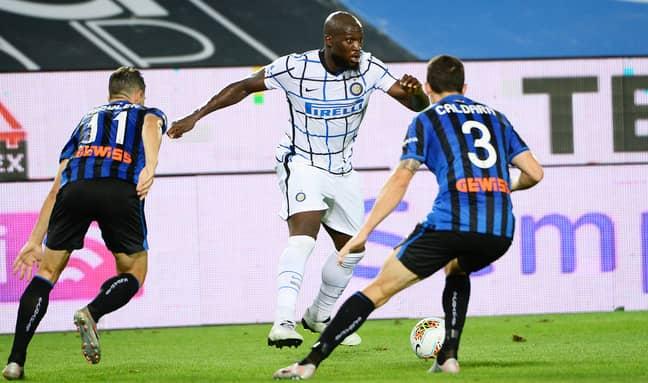 Romelu Lukaku controls the ball against Atalanta. (Image Credit: PA)